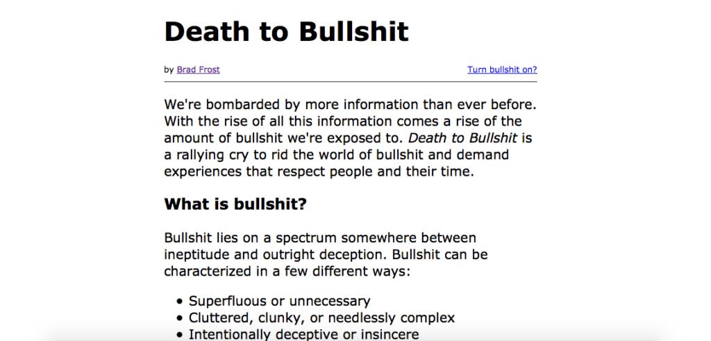 Death to Bullshit Website